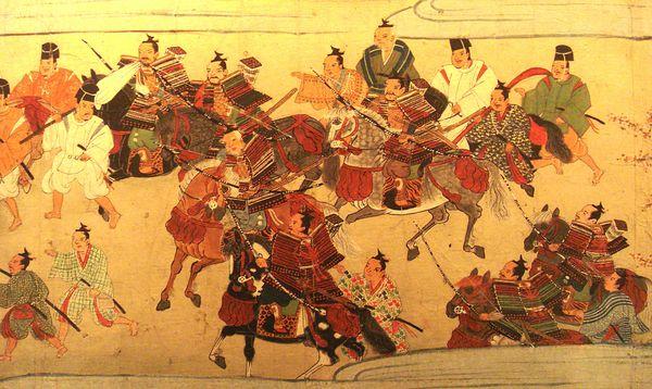 Самураи, пешие и конные, вступают в Киото. Около 1440 г.