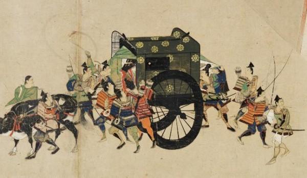 """Императорский возок со свитка, посвященного """"Смуте годов Хэйдзи"""", Хэйдзи-но-ран, покрытый изображениями 9-ти звезд."""