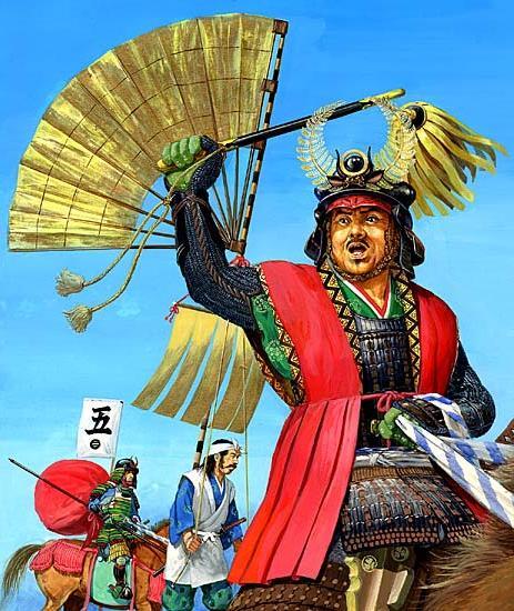 """Токугава Иэясу в сражении при Сэкигахара. Рисунок Ритта Наканиси. В действительности все сражение Иэясу просидел на походном стуле, даже не надев шлема, предоставив своим полководцам право сражаться за него. После сражения, согласно преданию, он надел шлем и сказал:  """"Каттэ, кабуто-но о осимэ ё!"""" - """"После победы затяните шнуры своего шлема!"""""""