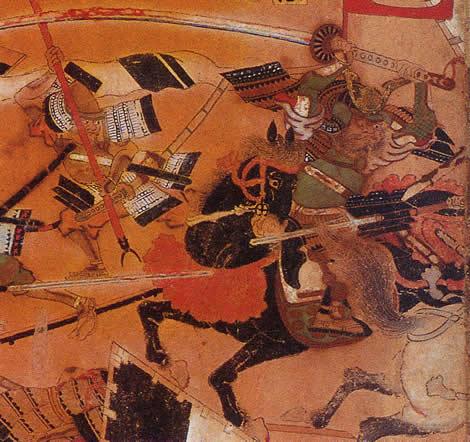 Макара Дзюродзаэмон Наотака, занеся свой огромный меч, готовится раскроить череп одному из самураев Токугава.