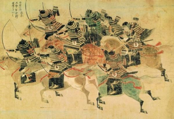 Отряд конных самураев атакует монголов в бухте Хаката во время их первой высадки в Японии в 1274 г. Из свитка Моко Сюрай Экотоба (около 1293 г.).