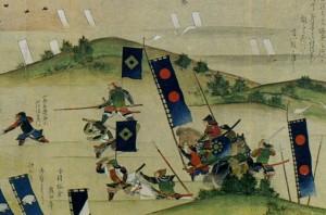 Войска Мацудайра Тадааки торопятся вступить в сражение с солдатами Санада Нобусигэ (Юкимура) в Летней кампании при Осака (1615). Фрагмент иллюстрированного свитка эпохи Эдо.