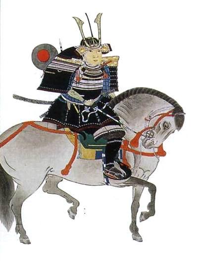 На современной картине Оути Ёсиоки изображен верхом на сером коне. Он одет в доспех домару, скрепленный черным шелковым шнуром, с белым плетением двух верхних рядов (катасиро куро-ито домару). Шлем украшен высокими «рогами» кувагата с центральным флагштоком для отличительного флажка– касадзируси (на рисунке не показан). Колчан эбира обтянут тканью с изображением солнечного диска – хи-но мару.