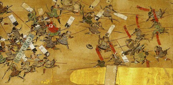 4-е сражение при Каванакадзима. Фрагмент расписной ширмы XVII в. Войска Такэда бегут под натиском армии Уэсуги.