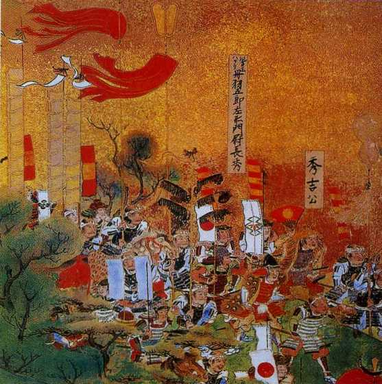 Хасиба (Тоётоми) Хидэёси и Нива Нагахидэ в сражении при Сидзугадакэ (1583 г.). Фрагмент расписной ширмы начала XVII в. Хасиба Хидэёси изображен в накидке из тигровых шкур, простой соломенной шляпе и с красным веером. Нива Нагахидэ одет в накидку из павлиньих перьев и шлем момонари-кабуто.
